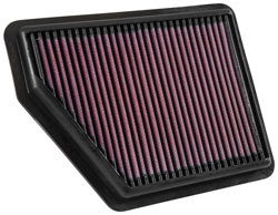 The K&N 33-5045 replacement air filter is designed to fit into the factory air box